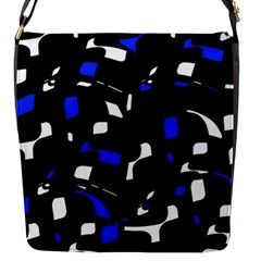 Blue, Black And White  Pattern Flap Messenger Bag (s)