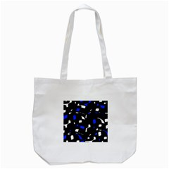 Blue, Black And White  Pattern Tote Bag (white) by Valentinaart
