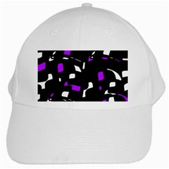 Purple, Black And White Pattern White Cap by Valentinaart