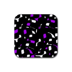 Purple, Black And White Pattern Rubber Square Coaster (4 Pack)  by Valentinaart