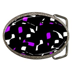 Purple, Black And White Pattern Belt Buckles by Valentinaart
