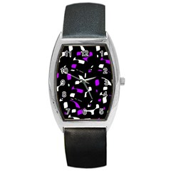 Purple, Black And White Pattern Barrel Style Metal Watch by Valentinaart