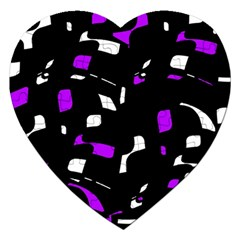 Purple, Black And White Pattern Jigsaw Puzzle (heart) by Valentinaart
