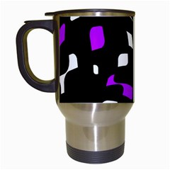 Purple, Black And White Pattern Travel Mugs (white) by Valentinaart