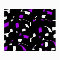Purple, Black And White Pattern Small Glasses Cloth by Valentinaart