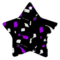Purple, Black And White Pattern Star Ornament (two Sides)  by Valentinaart