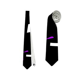 Purple, Black And White Pattern Neckties (one Side)  by Valentinaart