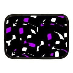 Purple, Black And White Pattern Netbook Case (medium)  by Valentinaart