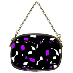 Purple, Black And White Pattern Chain Purses (two Sides)  by Valentinaart