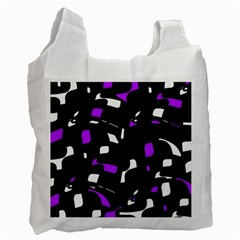 Purple, Black And White Pattern Recycle Bag (one Side) by Valentinaart