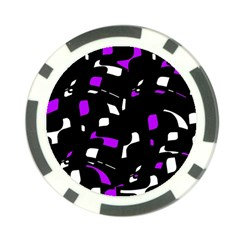 Purple, Black And White Pattern Poker Chip Card Guards (10 Pack)  by Valentinaart