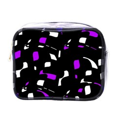 Purple, Black And White Pattern Mini Toiletries Bags by Valentinaart