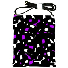 Purple, Black And White Pattern Shoulder Sling Bags by Valentinaart