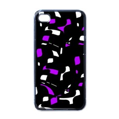 Purple, Black And White Pattern Apple Iphone 4 Case (black) by Valentinaart