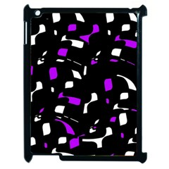 Purple, Black And White Pattern Apple Ipad 2 Case (black) by Valentinaart