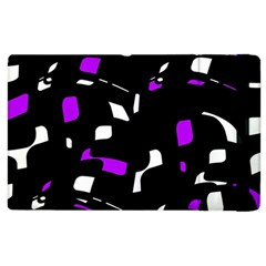 Purple, Black And White Pattern Apple Ipad 3/4 Flip Case by Valentinaart