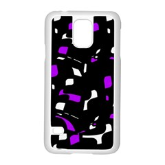 Purple, Black And White Pattern Samsung Galaxy S5 Case (white) by Valentinaart