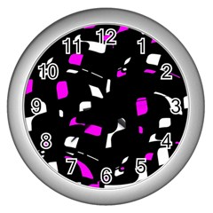Magenta, Black And White Pattern Wall Clocks (silver)  by Valentinaart