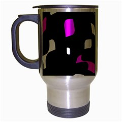 Magenta, Black And White Pattern Travel Mug (silver Gray) by Valentinaart