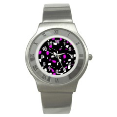 Magenta, Black And White Pattern Stainless Steel Watch by Valentinaart