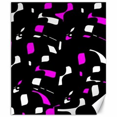 Magenta, Black And White Pattern Canvas 8  X 10  by Valentinaart