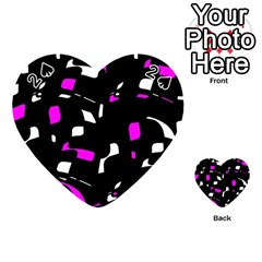 Magenta, Black And White Pattern Playing Cards 54 (heart)  by Valentinaart