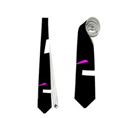 Magenta, Black And White Pattern Neckties (one Side)  by Valentinaart