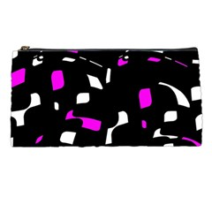 Magenta, Black And White Pattern Pencil Cases by Valentinaart