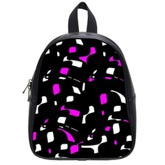 Magenta, Black And White Pattern School Bags (small)