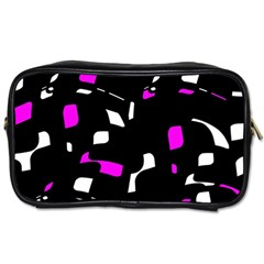 Magenta, Black And White Pattern Toiletries Bags 2 Side by Valentinaart