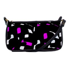 Magenta, Black And White Pattern Shoulder Clutch Bags by Valentinaart
