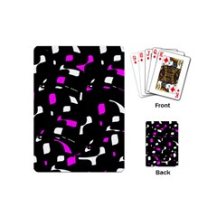 Magenta, Black And White Pattern Playing Cards (mini)  by Valentinaart