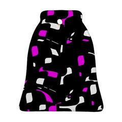 Magenta, Black And White Pattern Bell Ornament (2 Sides) by Valentinaart