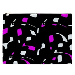 Magenta, Black And White Pattern Cosmetic Bag (xxl)  by Valentinaart
