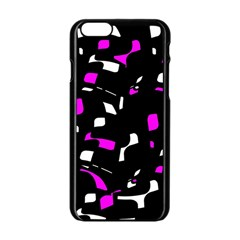 Magenta, Black And White Pattern Apple Iphone 6/6s Black Enamel Case by Valentinaart