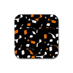 Orange, Black And White Pattern Rubber Coaster (square)  by Valentinaart