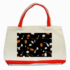 Orange, Black And White Pattern Classic Tote Bag (red) by Valentinaart