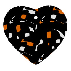 Orange, Black And White Pattern Heart Ornament (2 Sides) by Valentinaart