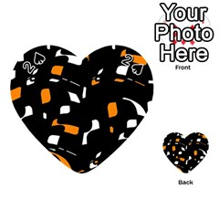 Orange, Black And White Pattern Playing Cards 54 (heart)  by Valentinaart