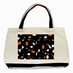 Orange, Black And White Pattern Basic Tote Bag (two Sides) by Valentinaart