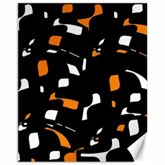 Orange, Black And White Pattern Canvas 11  X 14
