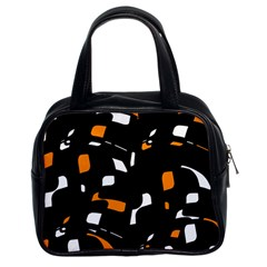 Orange, Black And White Pattern Classic Handbags (2 Sides) by Valentinaart