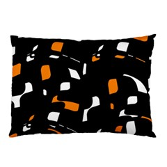 Orange, Black And White Pattern Pillow Case by Valentinaart