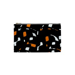 Orange, Black And White Pattern Cosmetic Bag (small)  by Valentinaart