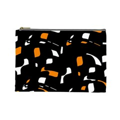 Orange, Black And White Pattern Cosmetic Bag (large)  by Valentinaart