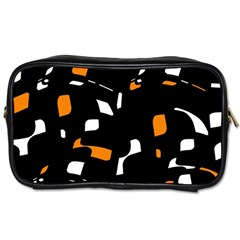 Orange, Black And White Pattern Toiletries Bags 2 Side by Valentinaart