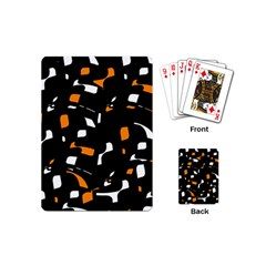 Orange, Black And White Pattern Playing Cards (mini)