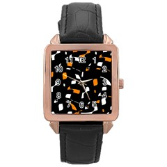 Orange, Black And White Pattern Rose Gold Leather Watch  by Valentinaart