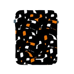 Orange, Black And White Pattern Apple Ipad 2/3/4 Protective Soft Cases by Valentinaart