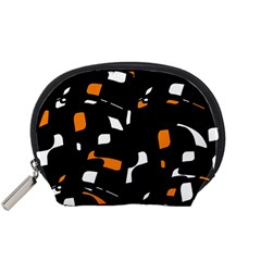 Orange, Black And White Pattern Accessory Pouches (small)  by Valentinaart